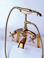 Недорогие -Традиционный Ар деко/ретро По центру Водопад Ручная лейка входит в комплект Медный клапан Три ручки двумя отверстиями Ti-PVD , Смеситель