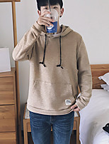 cheap -Men's Casual/Daily Hoodie Solid Hooded Micro-elastic Cotton Polyester Long Sleeve Fall