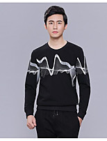 cheap -Men's Petite Casual/Daily Street chic Sweatshirt Print Round Neck Without Lining Micro-elastic Cotton Long Sleeves Winter Fall