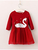 cheap -Girl's Daily Holiday Solid Color Block Swan Dress,Cotton Polyester Spring Fall Long Sleeves Cute Active Princess Navy Blue Red