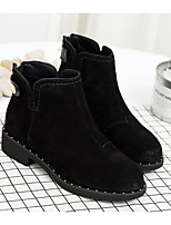 cheap -Women's Shoes Nubuck leather Spring Fall Comfort Bootie Boots Wedge Heel Booties/Ankle Boots for Casual Black