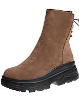 preiswerte -Damen Schuhe PU Winter Komfort Stiefel Flach Runde Zehe Geschlossene Spitze Mittelhohe Stiefel Spitze für Normal Schwarz Khaki