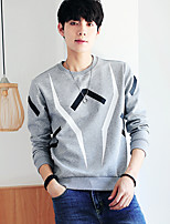 cheap -Men's Casual/Daily Sweatshirt Print Round Neck Micro-elastic Cotton Long Sleeve Fall