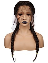 cheap -Brown Double Braids Long Straight High Temperature Fiber Braieded Two Tones Synthetic Front Lace Wig With Baby Hair