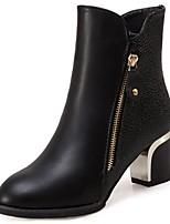 preiswerte -Damen Schuhe Künstliche Mikrofaser Polyurethan Winter Herbst Komfort Stiefel Block Ferse Spitze Zehe Mittelhohe Stiefel für Normal