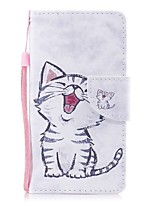 baratos -Capinha Para Apple iPhone X iPhone 8 Plus Porta-Cartão Carteira Com Suporte Flip Magnética Estampada Capa Proteção Completa Gato Rígida