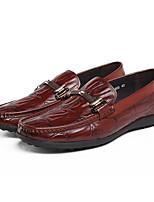 abordables -Hombre Zapatos Cuero Primavera Otoño Confort Zapatos de taco bajo y Slip-On para Casual Negro Borgoña