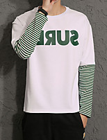 cheap -Men's Casual/Daily Sweatshirt Print Color Block Round Neck Micro-elastic Polyester Long Sleeve Fall