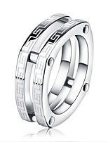 cheap -Men's Women's Band Rings Classic Fashion Stainless Steel Geometric Jewelry For Graduation Gift