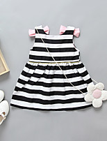 cheap -Girl's Casual/Daily Striped Dress,Polyester Spring Summer Sleeveless Simple Black