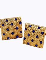 cheap -Geometric Golden Cufflinks Imitation Diamond Alloy Fashion Dresswear Daily Formal Men's Costume Jewelry