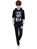 cheap -Men's Plus Size Going out Casual/Daily Simple Activewear Set Print Hooded Hoodies Micro-elastic Polyester Long Sleeve Spring/Fall