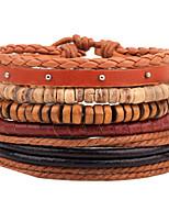 economico -Per uomo Per donna Braccialetti del filo Dell'involucro del braccialetto Vintage Etnico Di tendenza Corda di canapa Pelle Circolare Di