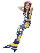 cheap -Girls' Cute Active Print Swimwear, Cotton Polyester Sleeveless Blue