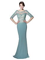 cheap -Mermaid / Trumpet Bateau Neck Sweep / Brush Train Linen Formal Evening Dress with Lace Sequins by Sarahbridal