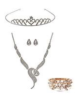 cheap -Women's Tiaras Bridal Jewelry Sets Rhinestone Fashion European Wedding Party Pearl Imitation Diamond Alloy Fox Body Jewelry 1 Necklace 1