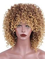 Mujer Pelucas sintéticas Corto Kinky rizado Strawberry Blonde / castaño medio Peluca afroamericana Con flequillo Peluca natural Pelucas