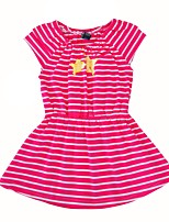 cheap -Girl's Daily Going out Striped Animal Print Dress,Cotton Summer Short Sleeves Cute Casual Fuchsia