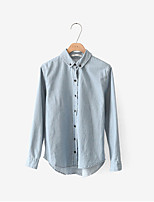 cheap -Women's Daily Casual All Seasons Shirt,Solid Shirt Collar Long Sleeve Polyester Opaque