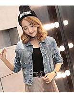 economico -Giacca di jeans Da donna Quotidiano Casual Inverno,Tinta unita Colletto Cotone Corto Maniche lunghe