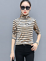 cheap -Women's Going out Casual/Daily Active Spring Fall T-shirt,Striped Crew Neck Long Sleeve Polyester Thick