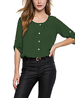 cheap -Women's Going out Casual Summer Blouse,Solid U Neck ½ Length Sleeve Polyester Thin