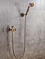 Недорогие -Античный По центру Широко распространенный Керамический клапан Одной ручкой одно отверстие Античная медь , Смеситель для душа
