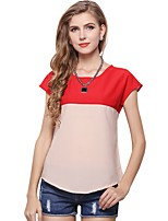 cheap -Women's Holiday Going out Cute Active Sexy Street chic All Seasons Blouse,Color Block Round Neck Short Sleeve Polyester Medium