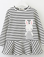 cheap -Girl's Daily Solid Striped Print Dress,Cotton Spring Fall Long Sleeves Cute Cartoon Princess White Black