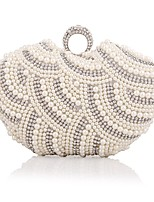 cheap -Women Bags Polyester Evening Bag Pearl Detailing for Wedding Event/Party All Season Almond Black White Champagne