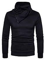 cheap -Men's Daily Casual Regular Pullover,Solid Turtleneck Long Sleeves Polyester Spandex Winter Thick Micro-elastic