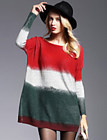 Women's Going out Casual/Daily Simple Street chic Loose Sweater Dress,Color Block Round Neck Above Knee Long Sleeve Wool Acrylic Polyester