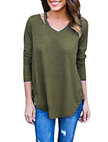cheap -Women's Daily Going out Vintage Casual Sexy Winter Fall T-shirtSolid V Neck Long Sleeve Polyester Medium