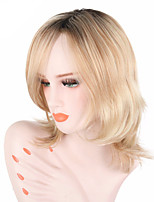 cheap -Women Synthetic Wig Medium Length Wavy Blonde Natural Hairline With Bangs Lolita Wig Party Wig Celebrity Wig Halloween Wig Cosplay Wig