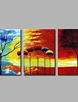 cheap -Hand-Painted Abstract Horizontal Panoramic,Modern Canvas Oil Painting For Home Decoration Three Panels