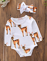 cheap -Baby Unisex Birthday Casual/Daily Animal Print Graphic One-Pieces,Cotton Polyester Spring Fall Simple Cute Active Long Sleeve Light Brown