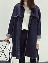cheap -Women's Going out Casual/Daily Street chic Winter Fall Trench Coat,Solid Shirt Collar Long Sleeve Long Polyester Pleated