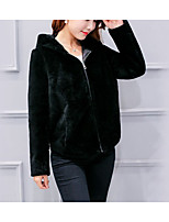 cheap -Women's Casual/Daily Simple Winter Fall Fur Coat,Solid V Neck Long Sleeve Short Faux Fur Fur Trim