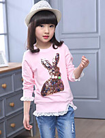 cheap -Girls' Solid Cartoon Blouse,Cotton Rayon Spring Fall Simple Cute Blushing Pink Gray