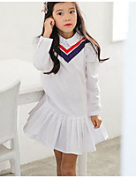cheap -Girl's Holiday Casual/Daily Solid Striped Dress,Polyester Spring Summer Long Sleeves Simple White
