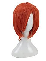 abordables -hairjoy Hombre Pelucas sintéticas Medio Corte Recto Naranja Con flequillo Peluca de cosplay Peluca de fiesta Pelucas para Disfraz