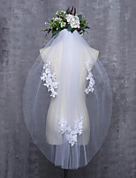cheap -One-tier Cut Edge Bridal Wedding Wedding Veil Fingertip Veils 53 Laces Tulle