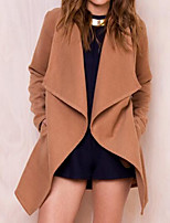 cheap -Women's Going out Simple Sexy Winter Trench Coat,Solid Round Neck Long Sleeve Regular Cotton Acrylic