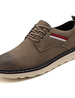 Недорогие -Для мужчин обувь Искусственное волокно Зима Светодиодные подошвы Туфли на шнуровке для Повседневные Черный Коричневый Хаки