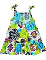 cheap -Girl's Daily Floral Mixed Color Dress,Cotton Summer Sleeveless Casual Active Green