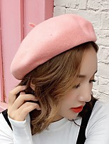cheap -Women's Wool Beret Hat,Work Casual Solid Spring, Fall, Winter, Summer Stylish Gray Blushing Pink