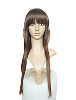 cheap -Women Synthetic Wig Long Kinky Straight Brown Natural Hairline With Bangs Celebrity Wig Cosplay Wig Natural Wigs Costume Wig