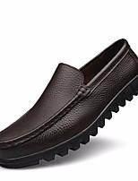 abordables -Hombre Zapatos Cuero Primavera Otoño Confort Zapatos de taco bajo y Slip-On para Casual Negro Marrón