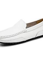 abordables -Hombre Zapatos Cuero Invierno Otoño Confort Zapatos de taco bajo y Slip-On para Casual Blanco Negro Marrón