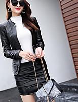 Недорогие -Для женщин Повседневные Зима Кожаные куртки Круглый вырез,На каждый день Однотонный Короткая Длинные рукава,Полиуретановая
